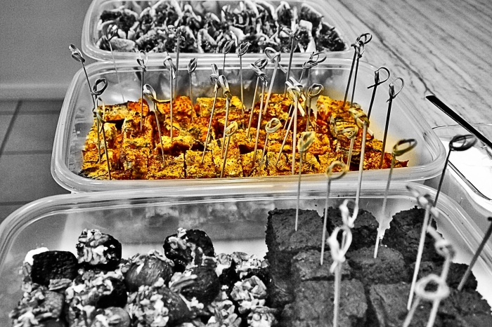 I prepared happy hour snacks at Street Yoga's happy hour party for about 40 people. A wonderful organization  - featured in this image is a yam zucchini fritata!