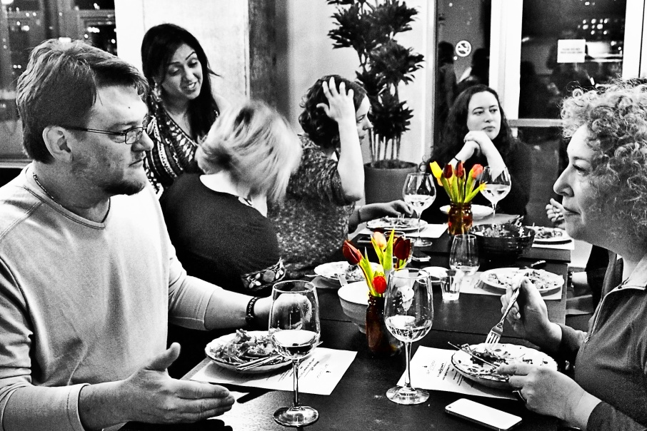Our wonderful participants (and friends) conversing during the appetizers. The tulips are from Pike Place Market!